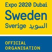 Logo för Expo 2020 Dubai i gult och blått