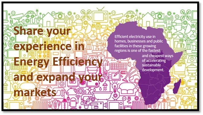 "Purple map next to text ""Share your experience in Energy Efficiency and expand your markets"